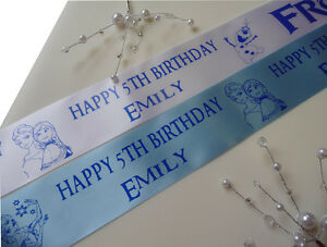 Frozen inspired personalised ribbon add to cake gifts etc for birthday party et