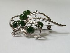VINTAGE SIGNED SILVER FILIGREE 2.5 INCH PENDANT BROOCH PIN WITH OVAL GREEN JADE