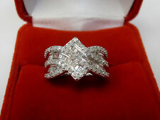 Natural Real 1 CT Round Baguette Diamond Anniversary Band Ring Silver Metal Sz 6