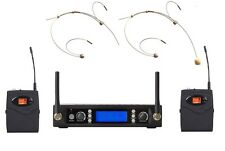 Headset Microphone Wireless Systems UHF Cordless Headworn Microphone 2 Mike mic