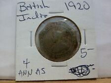 1920 British India Coin 4 Annas