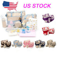 Baby Changing Diaper Nappy Bag Mummy Mother Handbag Multi-functional Set 5 Pcs