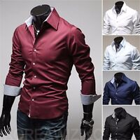 Men Fashion Casual Long Sleeve Slim Fit Shirts Stylish Dress For Business Casual