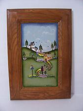 """FOLK ART Oil Painting on Wood, Signed """"K Ritzman"""" , Folk Art, WHIMSICAL"""