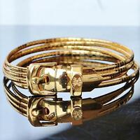 "CELIN for MILOR 14k yellow gold bracelet 8.0"" Italian belt buckle vintage 23.4gr"