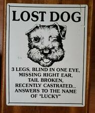 Lost Dog Named Lucky Embossed Dog Tin/Metal Sign - Garage, Porch, Vet, Diner...