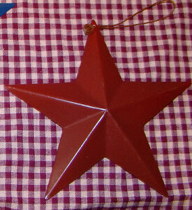 """5.5"""" Rustic Red Americana Metal Barn Star Vintage Country Primitive Tin Décor"""