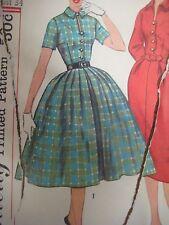 Vtg 50's Simplicity 2622 SHEATH DRESS PLEATED FULL SKIRT Sewing Pattern Women
