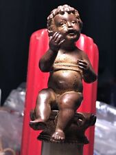 Antique Italian Bronze Cherub Sculpture pedestaled atop old Vein Marble Base