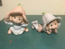 2 Vtg Homco Home Interiors Pixie Girl Gnome Elf Fairy Figurines with flower hats
