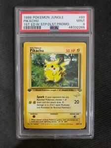 PSA 9 1st Edition Pikachu Gold W Duelist Stamp - Red Cheeks 1999 Jungle Pokemon