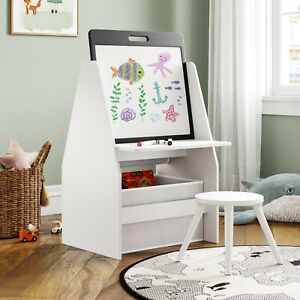 ECCA White Kids 4 in 1 Storage, Drawing board with study table and book shelf