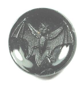 "Antique Black Glass Button Fun Flying Bat Design   11/16""    1890s"