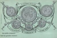 EARLY 1900's VINTAGE EUROPEAN COINS inc BRITAIN, FRANCE, GERMANY POSTCARD UNUSED