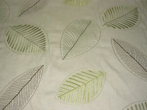 10 YDS MODERN LEAF EMBROIDERED COTTON DRAPERY UPHOLSTERY DRAPERY FABRIC FOR LESS