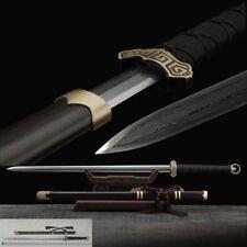 Ring-pommel Tang sword Refining pattern steel blade Sharp Pterocarpus Scabbard