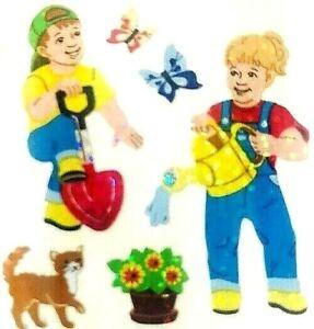 **RARE**  GLITTERY CHILDREN IN GARDEN Sandylion Stickers - 2 squares   ~RETIRED~