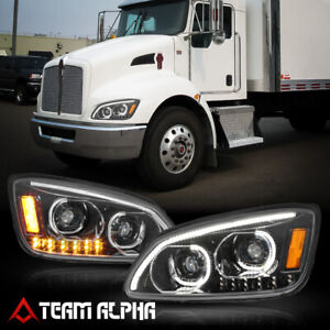 Fits 2008-2019 Kenworth T370/T660/T700{DUAL LED C-BAR}Black Projector Headlight
