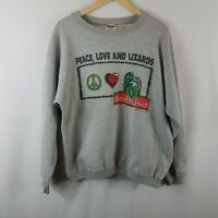 Budweiser Peace Love and Lizards Sweatshirt Large L Vtg Sweater 90s Grey 1997