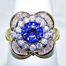 14k Yellow Gold TANZANITE & DIAMOND RING Size 7 - 5.7 Grams Of Gold