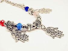 Mix Crystal Beads Filigree Hamsa Hand Ornament Handmade Protective Prayer Charm