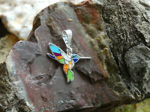 Hummingbird Sterling Silver 925 Multi Gem Stone & Opal Colorful Pendant NEW T18