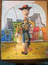 TOY STORY SHERIFF WOODY WOODEN TRAY PUZZLE - MATTEL - USED