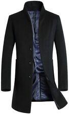 Minibee Men's Trench Coat Wool Blend Slim Fit Long Jacket Business Pea Overcoat
