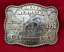 VINTAGE RODEO BUCKLE 1992 OMAHA NEBRASKA BULL RIDING CHAMPION Hand Engraved 309