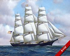 UNITED STATES CLIPPER FLYING CLOUD AT SEA OIL PAINTING ART REAL CANVAS PRINT