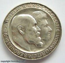 Y<<Coin Münze 3 Mark 1911 Wilhelm II und Charlotte von Württemberg