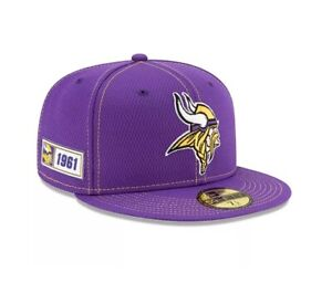 NEW ERA NFL MINNESOTA VIKINGS SIDELINE 59FIFTY FITTED HAT MENS SIZE 7 1/2