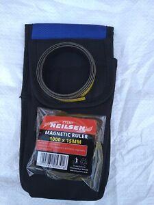 HI VIZ Flexible Magnetic Ruler Tape 1000mm x 15mm x 0.6 Craft, Tool Pouch Holder