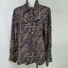 Vintage Pussybow Blouse Size 12 Multi-color Paisley Button Front Haberdashery