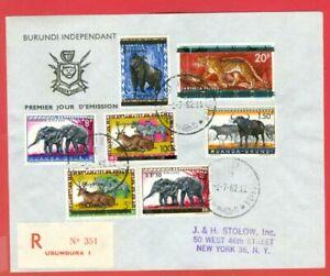 Ruanda Urundi Overprint BURUNDI Elephant BUFFALO + 7 diff stamp Registered cover