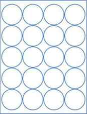 """(6 sheets) round blank 2"""" inch white stickers sheets labels circle, made in USA"""