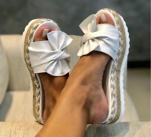 Neu Sandalen Sommer Damen Hausschuhe Korkoptik Pantoletten Schlappen Schuhe