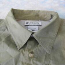 Columbia Sz L Olive Green Long Sleeve Vented Three Pocket Shirt Men