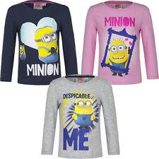 Nuevo Jersey Camisa Manga Larga Niñas Minions Rosa Gris Azul 98 104 116 128 #92