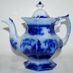 Antique Staffordshire Flow Blue Octagonal Oriental Landscape Coffee Pot / Teapot