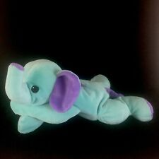 Ty SQUIRT Elephant Pillow Pals Plush Blue Purple Bow 1998 Vtg Stuffed Toy 15 In