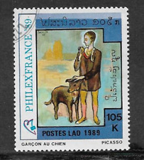 POSTES LAO ISSUE 1989 USED COMMEMORATIVE STAMP PHILEXFRANCE PICASSO PAINTINGS