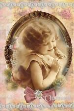 Fabric Block Vintage Altered Postcard Victorian Girl ~Chic & Shabby~ Roses