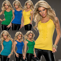 Womens top Ladies Tank Vest Clubbing Shirt Party Sexy Blouse One Size 6 8 10 12