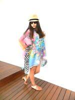 NEW Tunic Kaftan Caftan Resort Wear Loose One Size Beach Cover Up Dress Pink