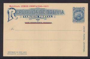 BOLIVIA 1917 5¢ REVALUED 2 CENT POSTAL CARD IN RED RARE