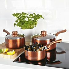CERMALON 3PC COPPER CERAMIC, NON-STICK SAUCEPAN SET,18CM, 20CM & 14CM MILK PAN,