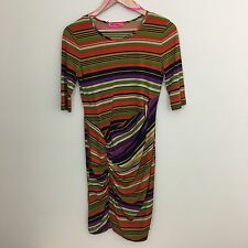 Betsey Johnson Size 6 Women's Dress Midi Multi Striped Evening 90s Ruched