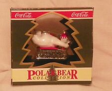 "Coca Cola Polar Bear Collection ""Downhill Sledder"" Christmas Ornament 1994"