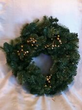 "Beautiful 17"" Heartfelt Welcome Gold Color Berries Winter Wreath Preowned"